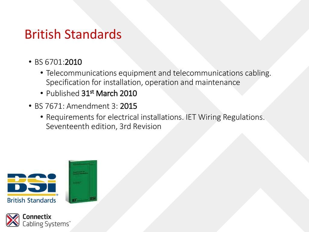 Connectix Cabling Systems Ppt Download Iee Wiring Regulations 17th Edition Amendment 2 British Standards Bs 67012010