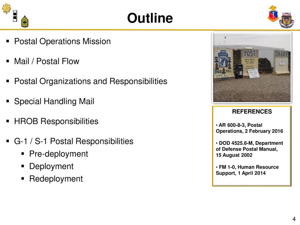 Outline Postal Operations Mission Mail / Postal Flow