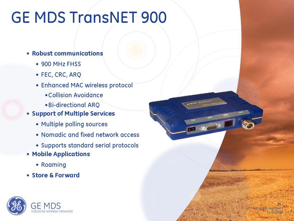 GE MDS TransNET 900 Robust Communications MHz FHSS FEC CRC ARQ