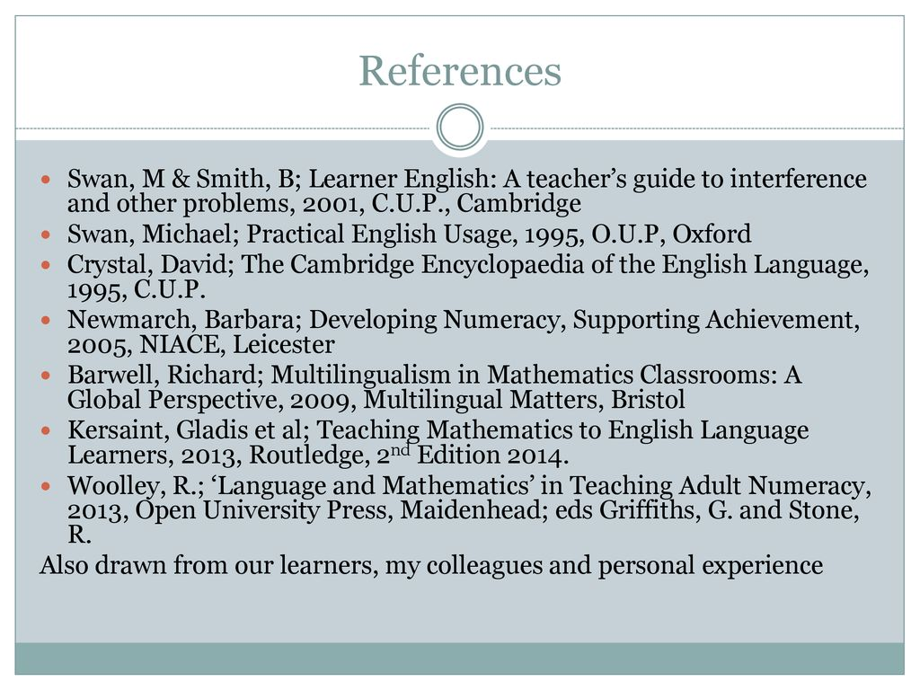 First Language Interference A Guide For Teachers Of Mathematics