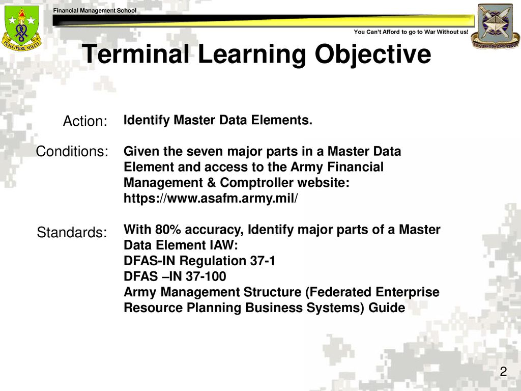 2 Terminal Learning Objective