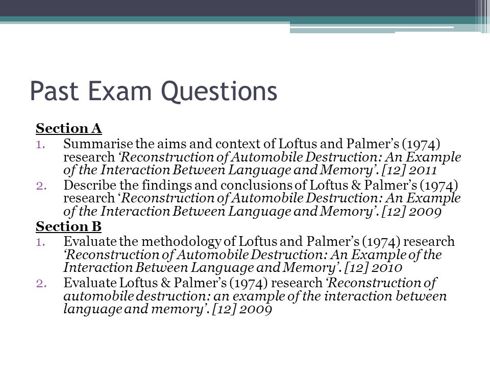 Past Exam Questions Section A