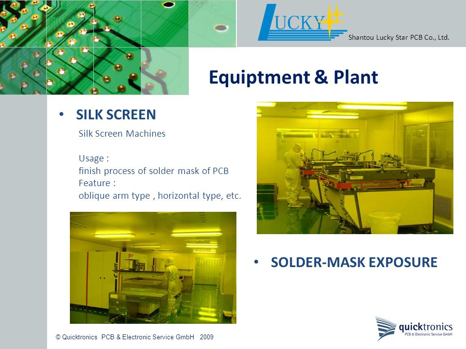 Equiptment & Plant SILK SCREEN SOLDER-MASK EXPOSURE