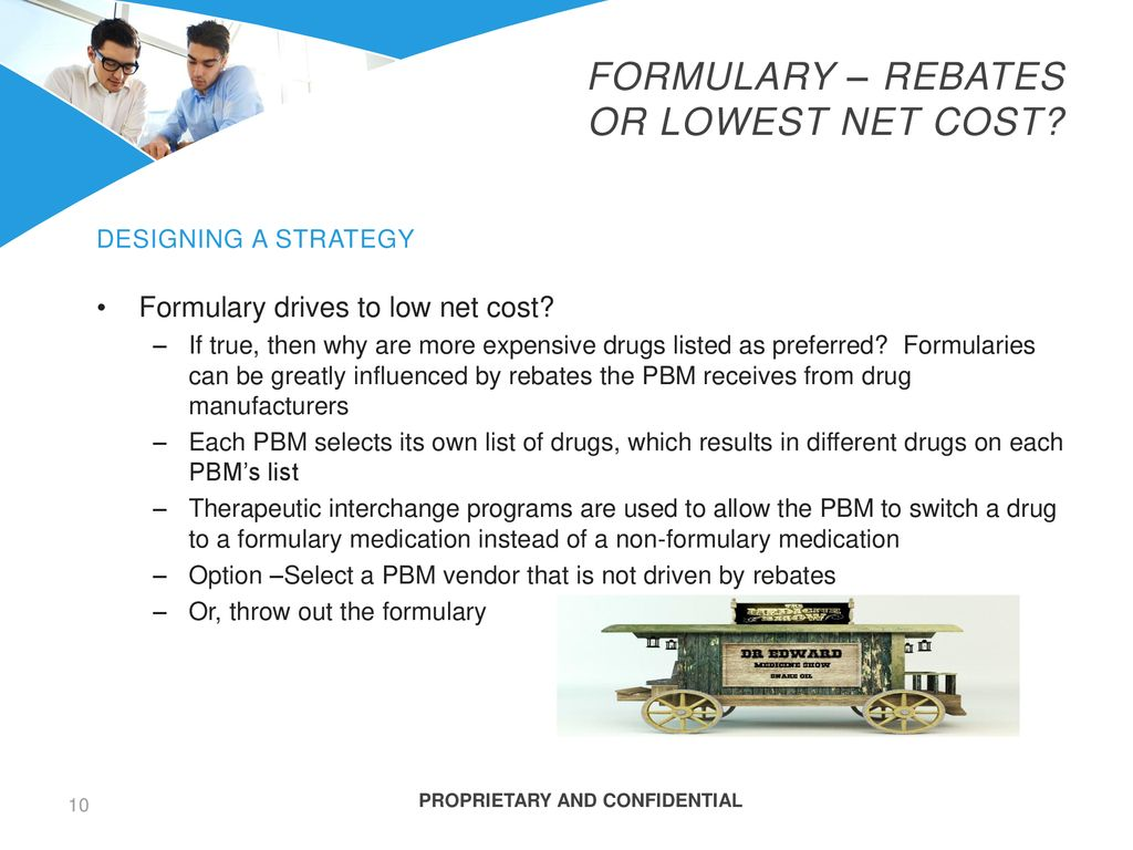 Formulary – Rebates or Lowest net cost