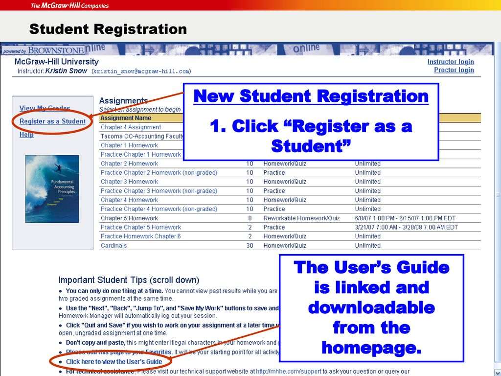 Homework Manager First Day of Class Student Registration