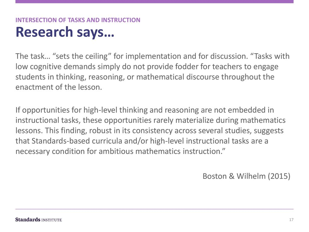 The Intersection of Quality Math Tasks and Instruction - ppt