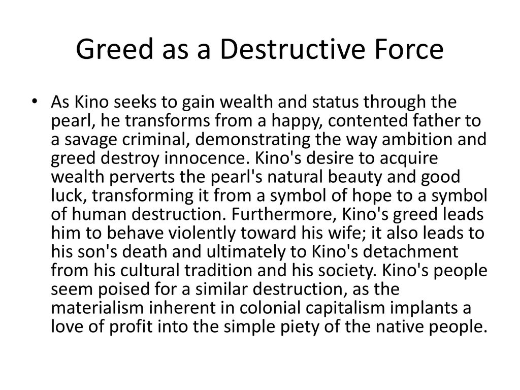 the pearl greed as a destructive force essay