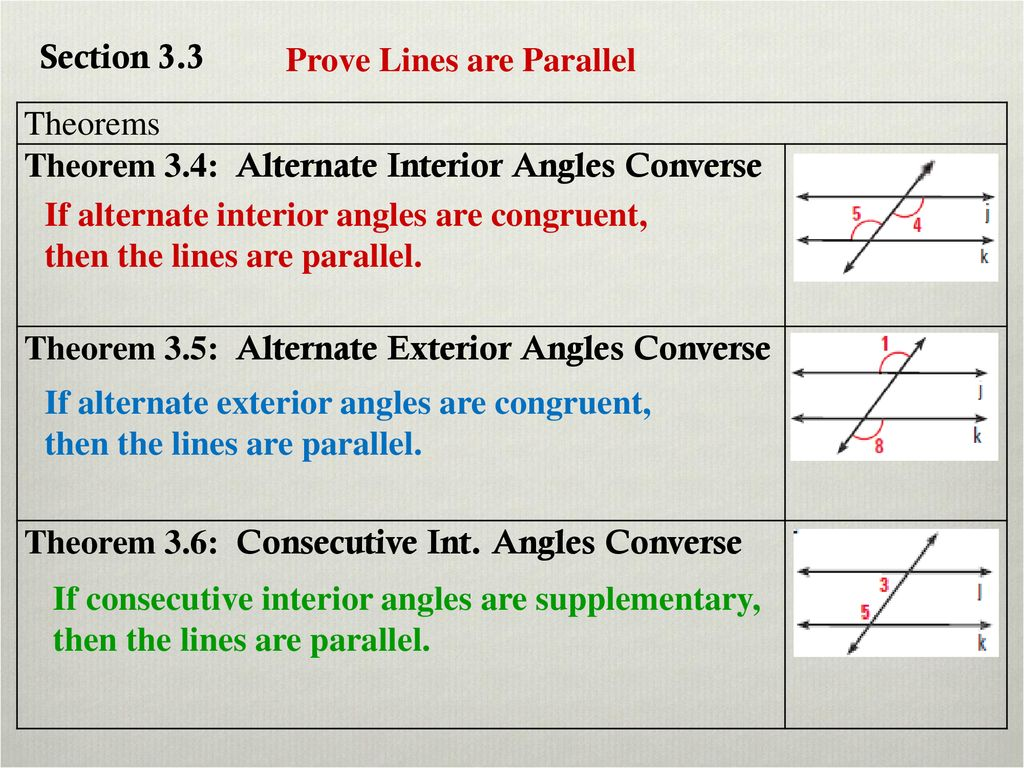 86f15f415f5c Section 3.3 Prove Lines are Parallel. Theorems. Theorem 3.4  Alternate Interior  Angles Converse