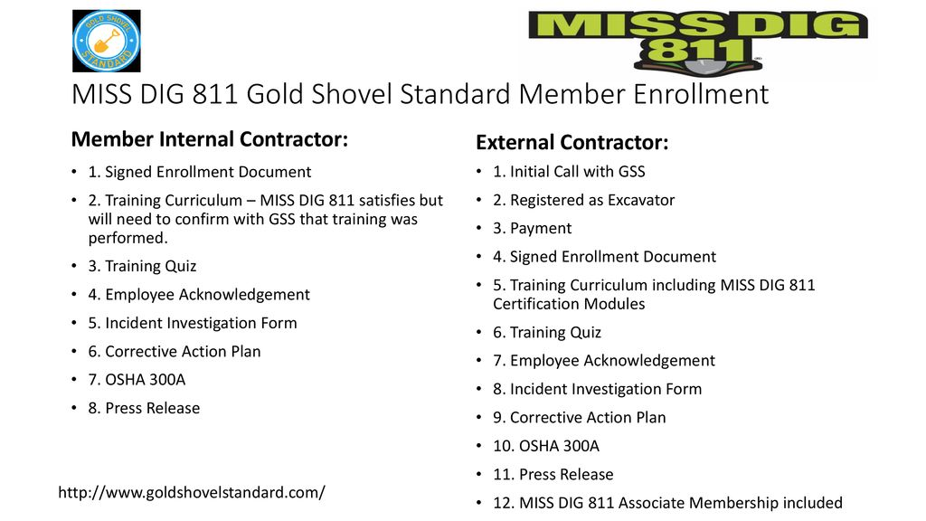 Miss Dig 811 Gold Shovel Standard Gss Ppt Download Miss dig (law, training, available resources to excavators, etc.) damage prevention strategy. miss dig 811 gold shovel standard gss