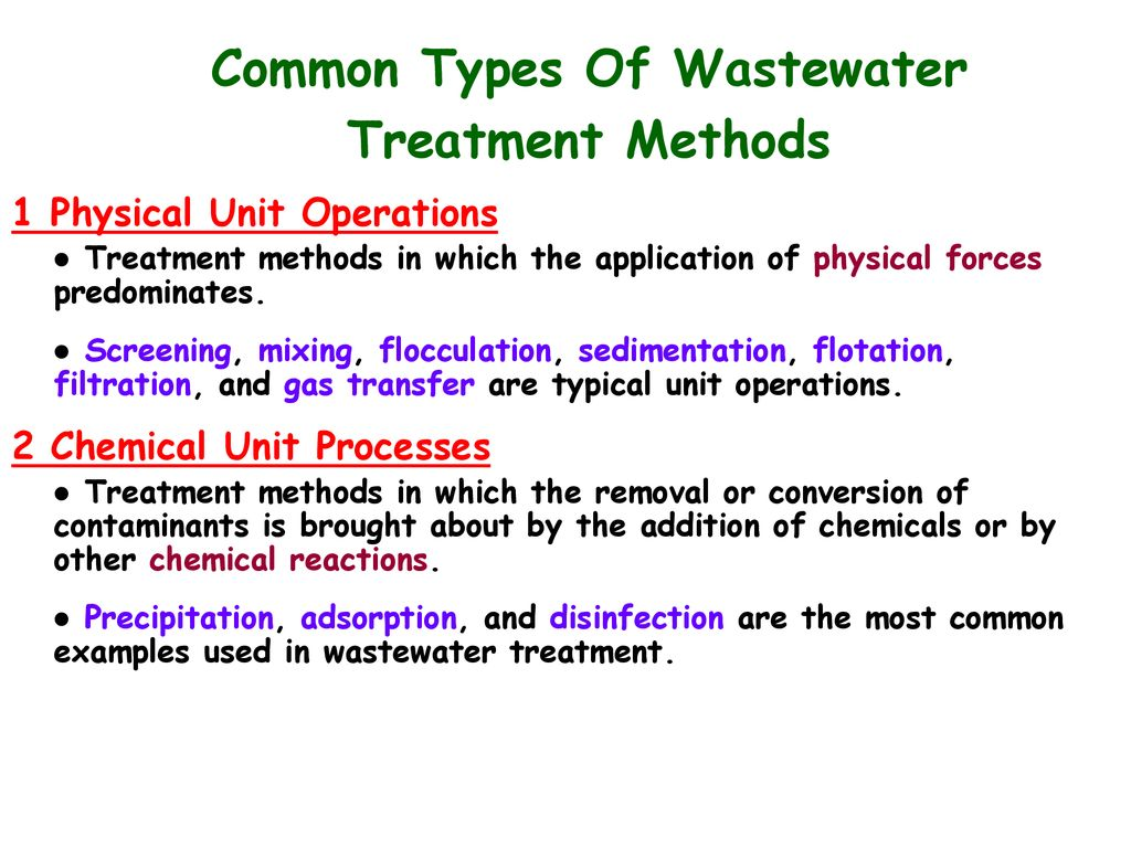 Common Types Of Wastewater Treatment Methods - ppt download
