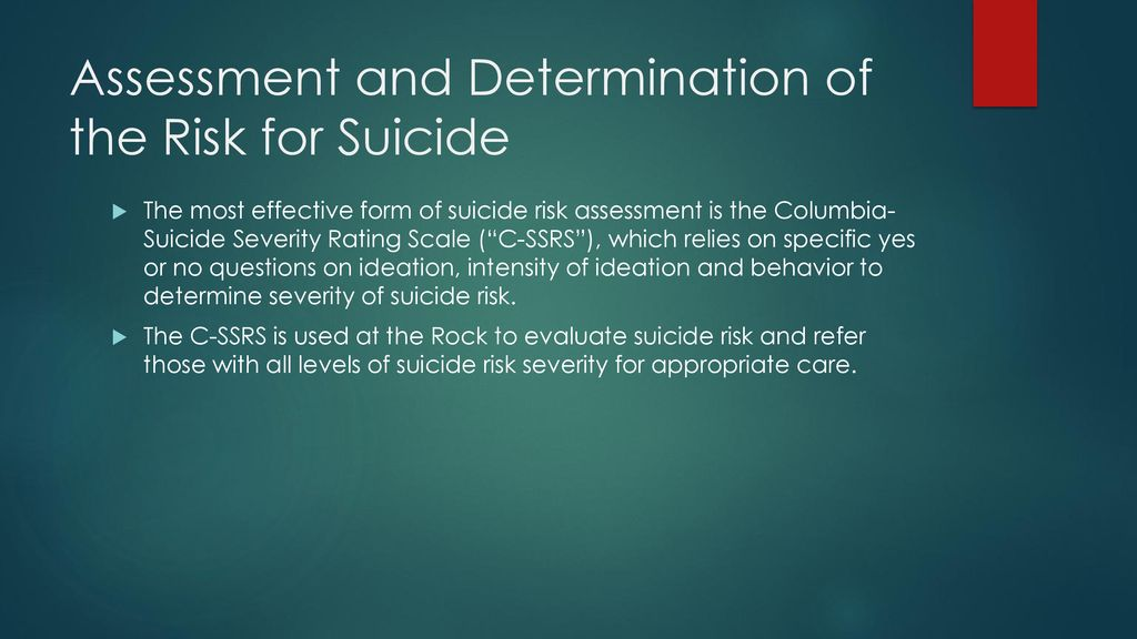 Suicide Risk Assessment and Prevention in a Clinical Setting