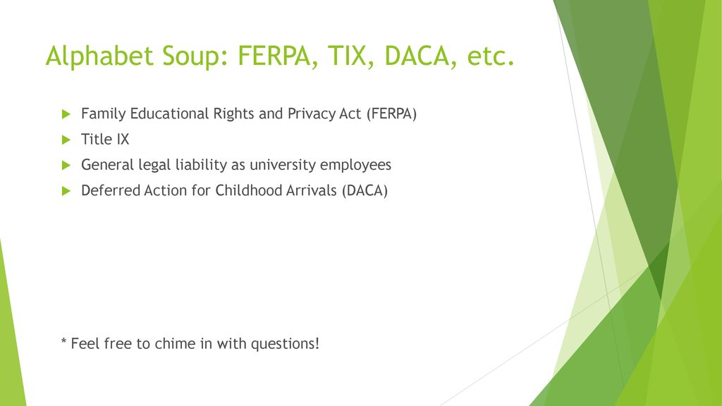 ferpa form uncc  The ABCs of Current Legal Issues in Higher Ed - ppt download