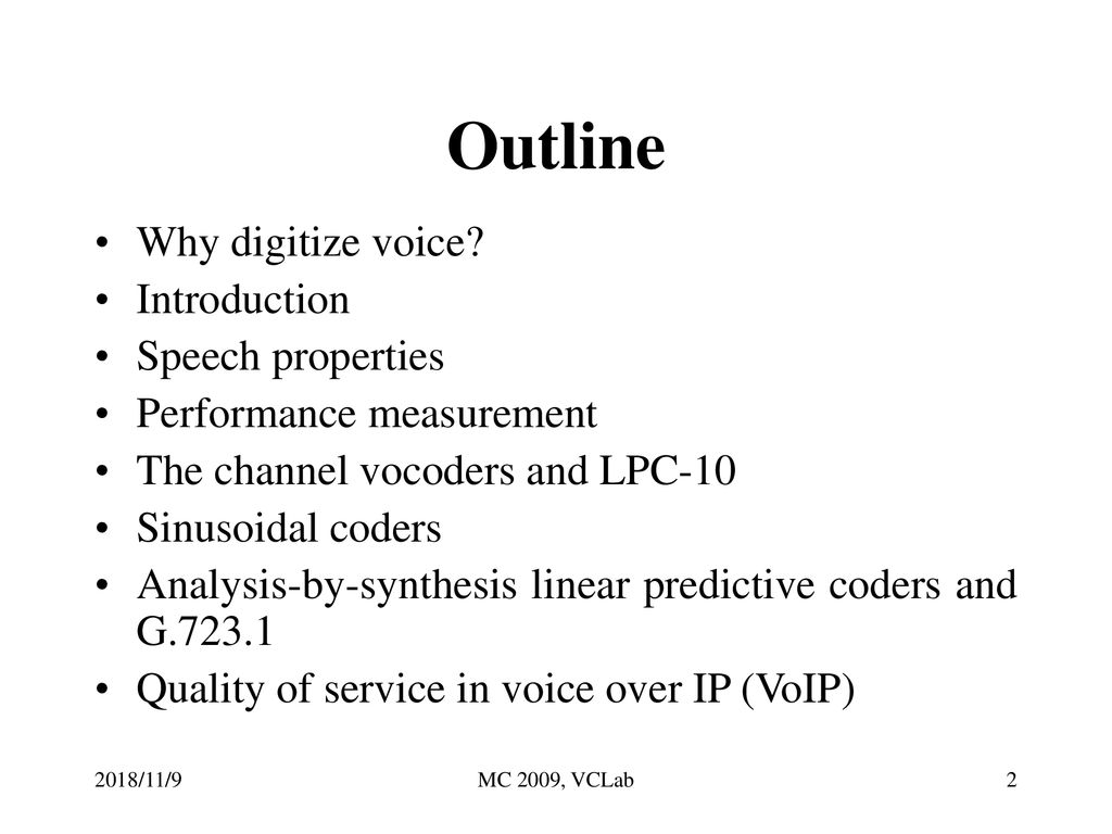Introduction to Voice Compression VC Lab ppt download
