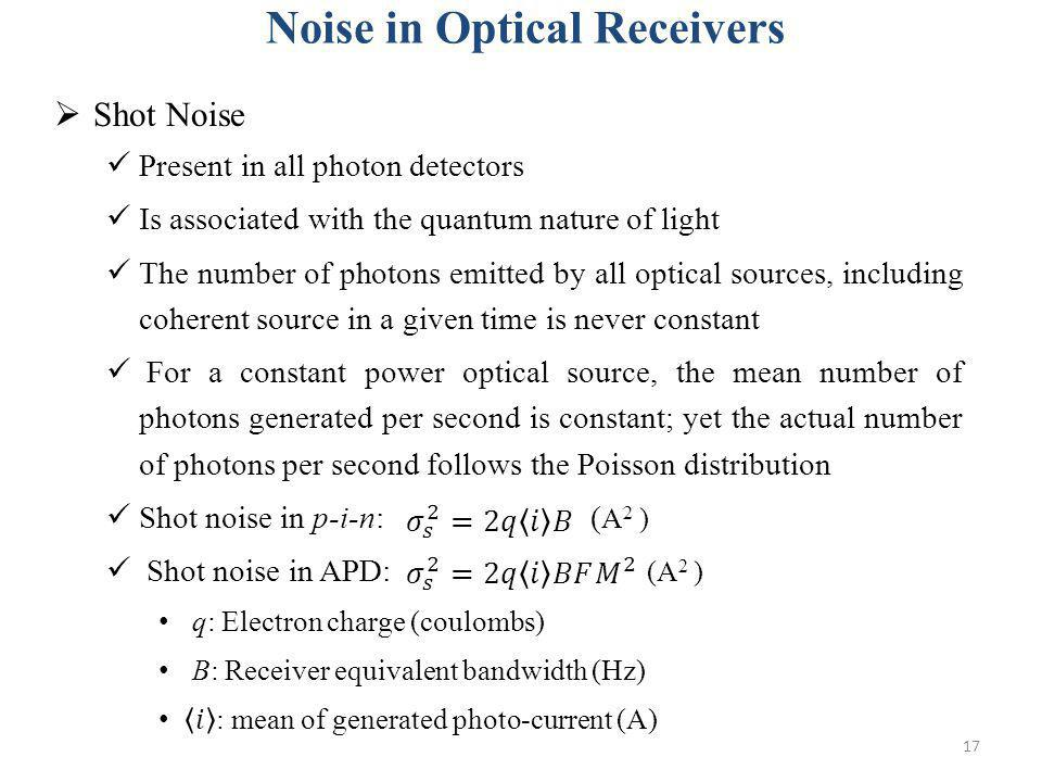 Noise in Optical Receivers
