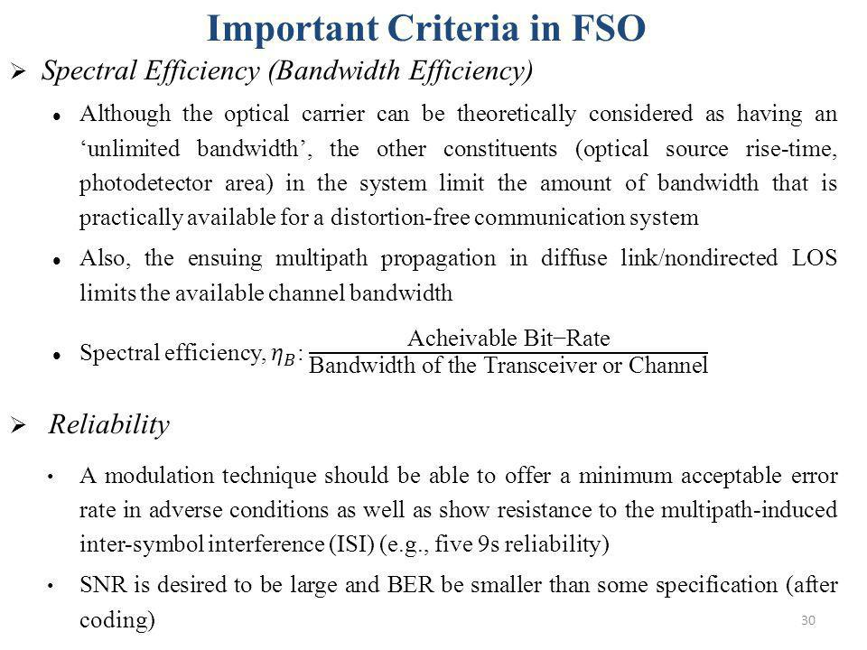 Important Criteria in FSO