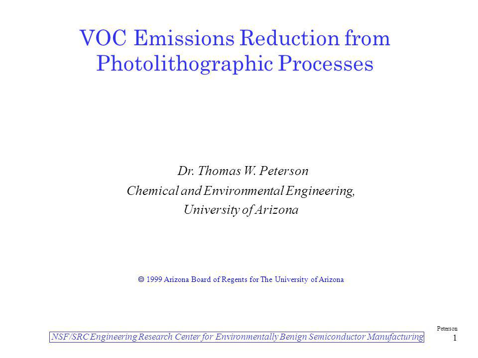 VOC Emissions Reduction from Photolithographic Processes