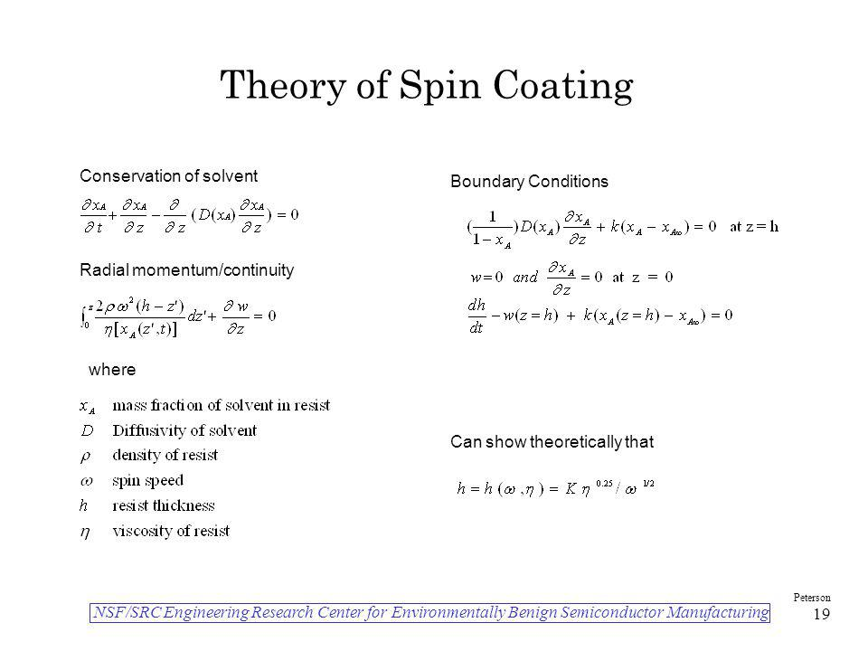Theory of Spin Coating Conservation of solvent Boundary Conditions