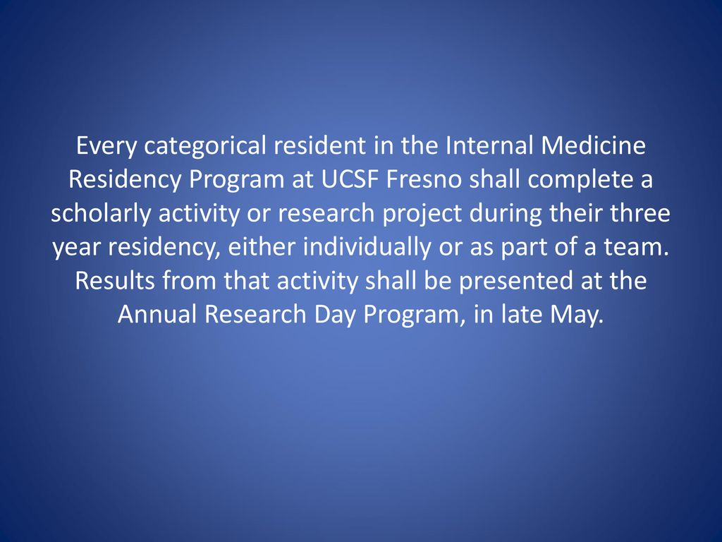 Research Curriculum for Internal Medicine Residency at UCSF