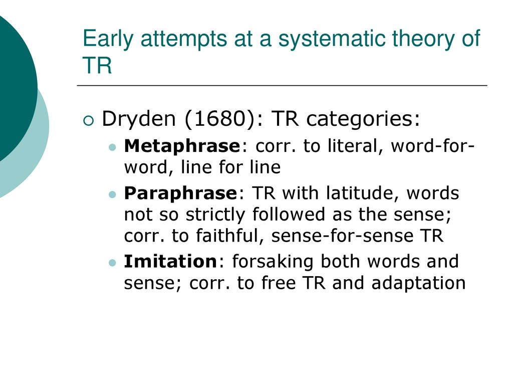 Translation Studie A Brief History Ppt Download Metaphrase Paraphrase And Imitation