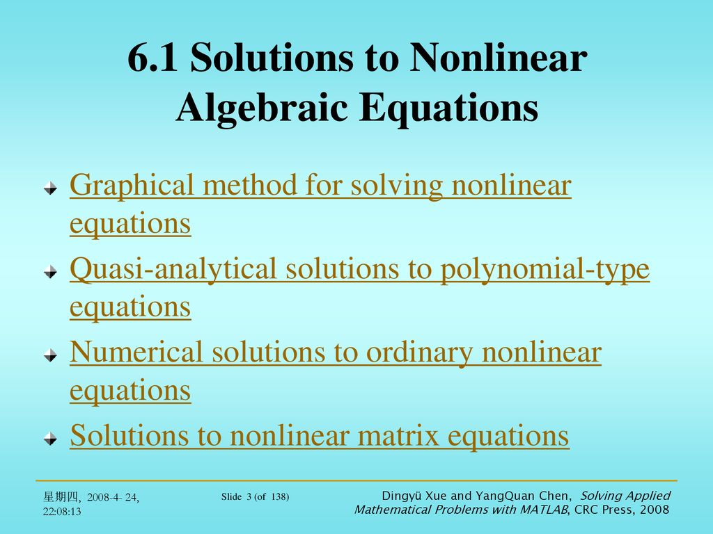 Chapter 6 Nonlinear Equations and Optimization Problems