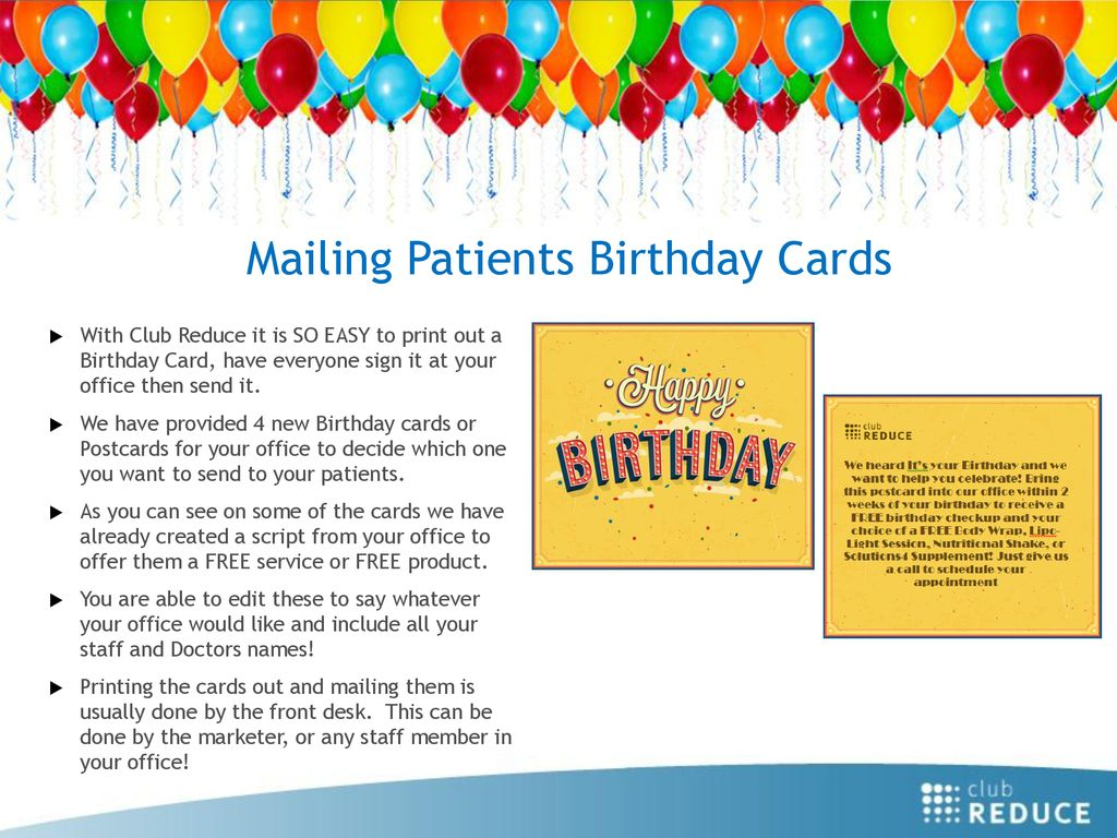 Mailing Patients Birthday Cards