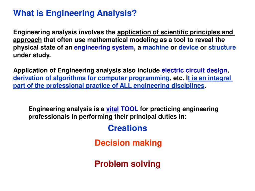 Overview of Engineering Analysis - ppt download