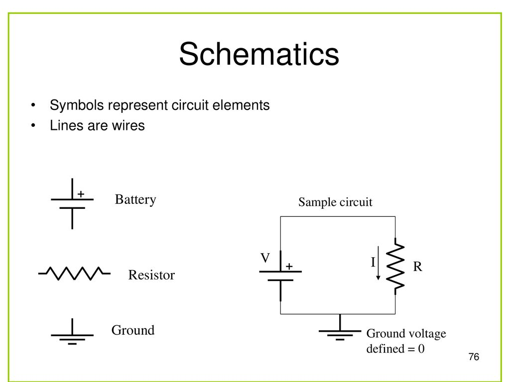 Faen 108 Basic Electronics Ppt Download Wire Resistor Symbol On Schematics 76 Symbols Represent Circuit Elements Lines Are Wires Battery