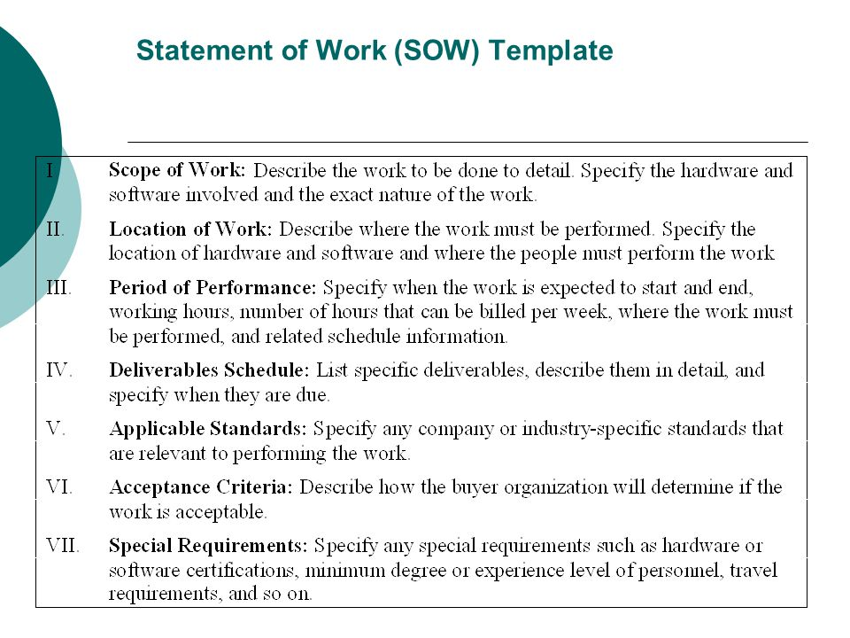 Statement of Work (SOW) Template