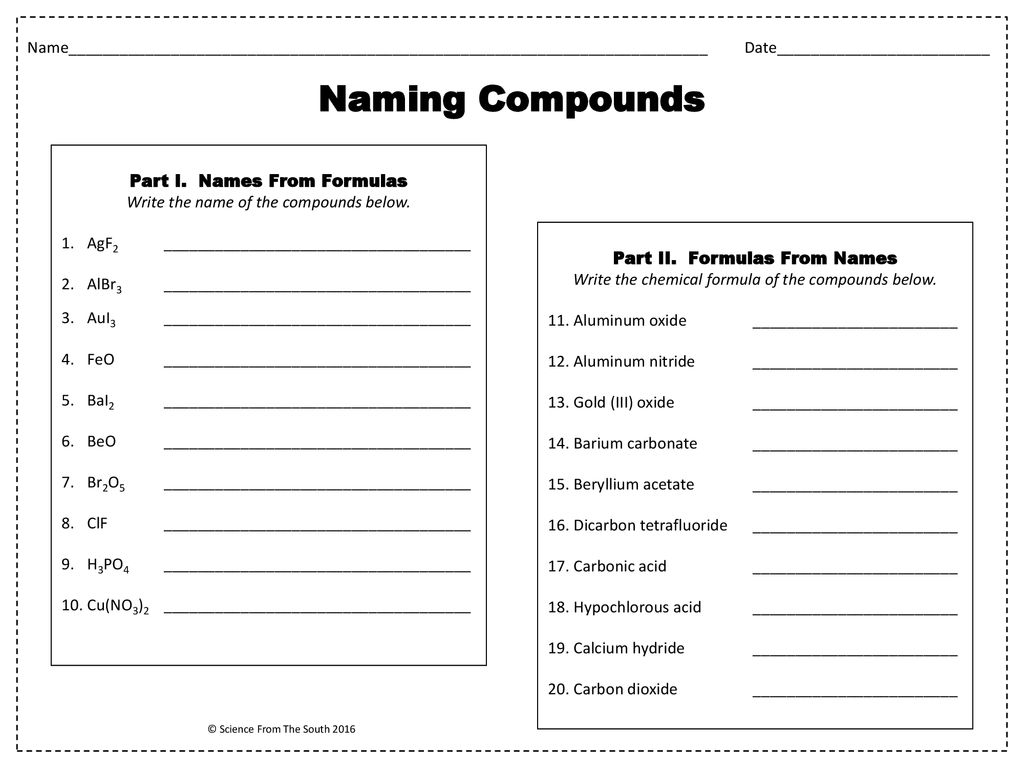 Naming Compounds Worksheet. - ppt download