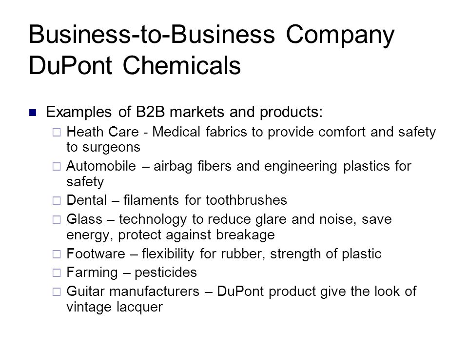 Business-to-Business Company DuPont Chemicals