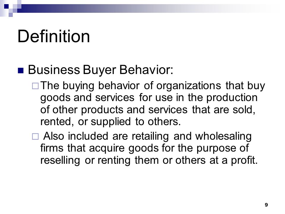 Definition Business Buyer Behavior: