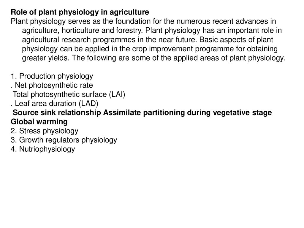 importance of crop physiology in agriculture