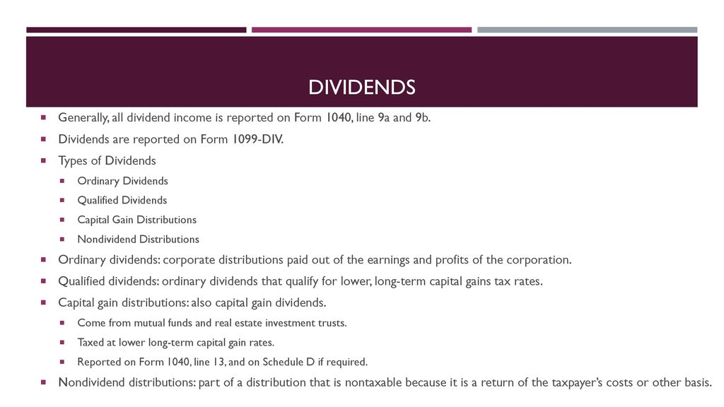 form 1065 non dividend distributions  Income – wages, interest, etc. - ppt download
