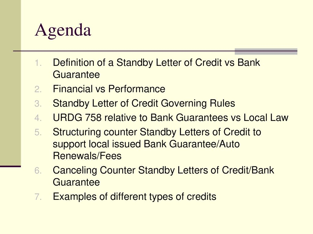 Performance Standby Letter Of Credit Sample Text Standby