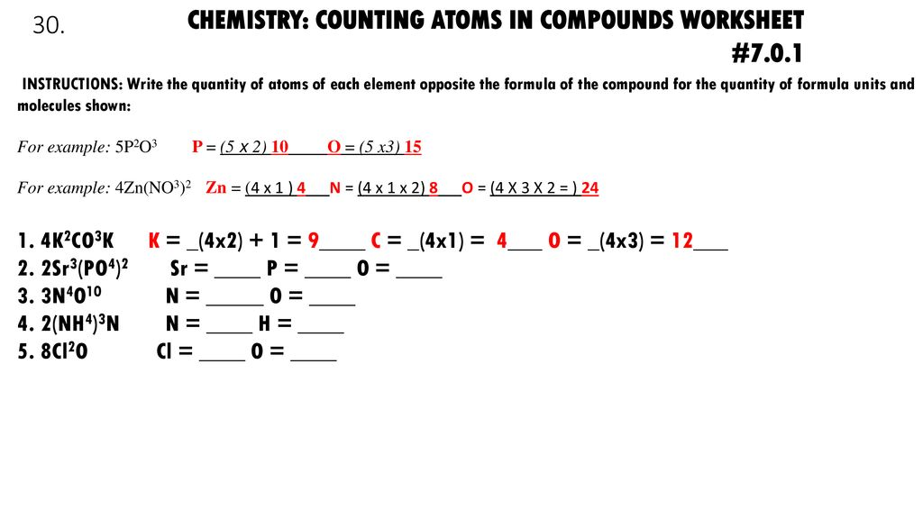 Chemistry Counting Atoms In Compounds Worksheet Nidecmege