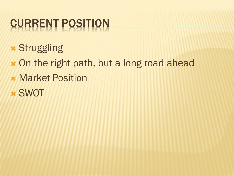 Current position Struggling On the right path, but a long road ahead