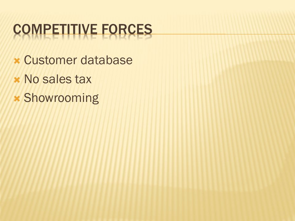 Competitive Forces Customer database No sales tax Showrooming