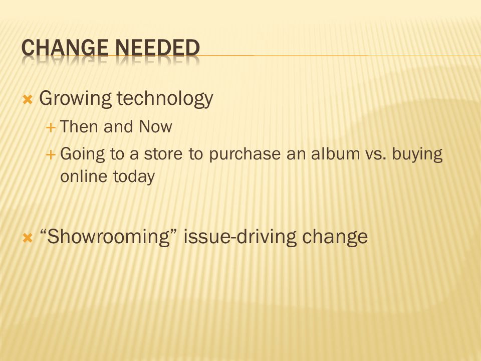 Change needed Growing technology Showrooming issue-driving change
