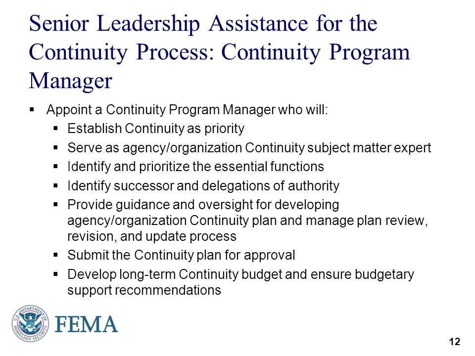 Senior Leadership Assistance for the Continuity Process: Continuity Program Manager