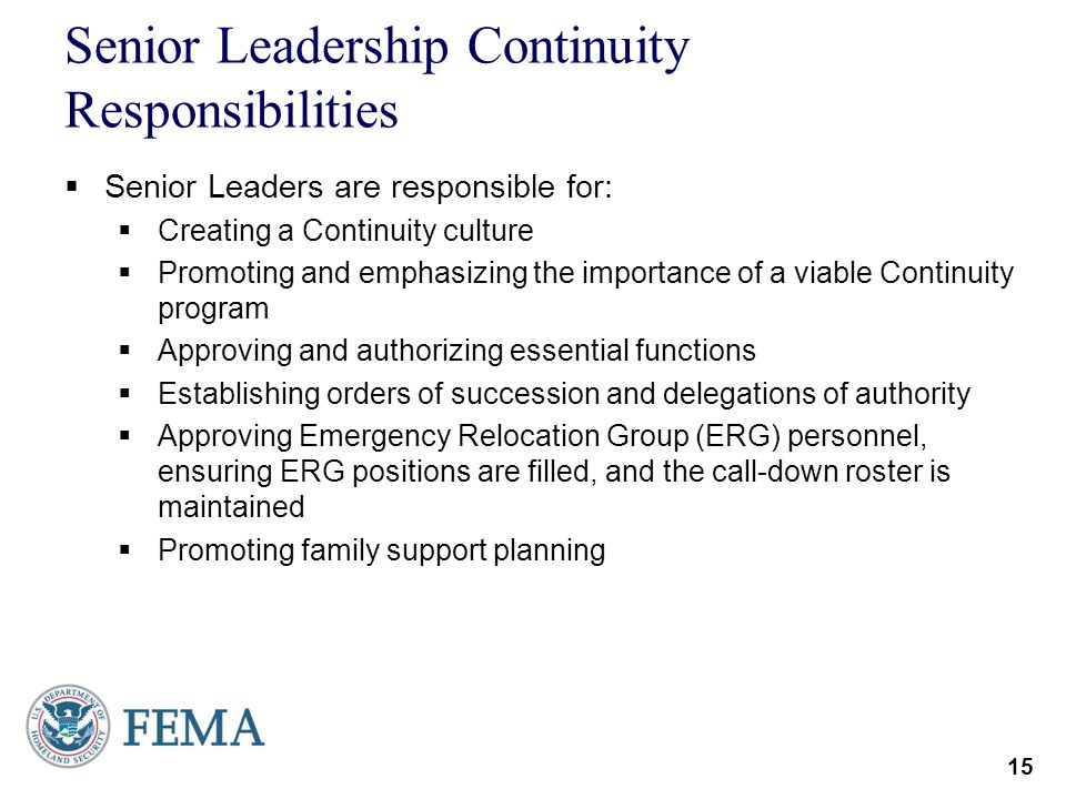 Senior Leadership Continuity Responsibilities