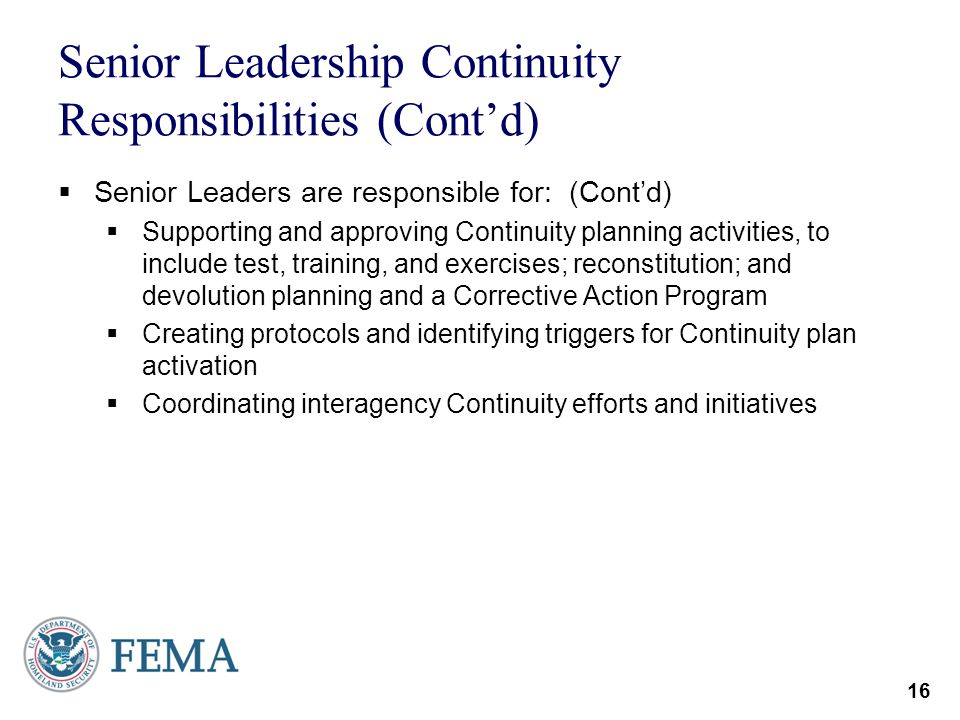 Senior Leadership Continuity Responsibilities (Cont'd)