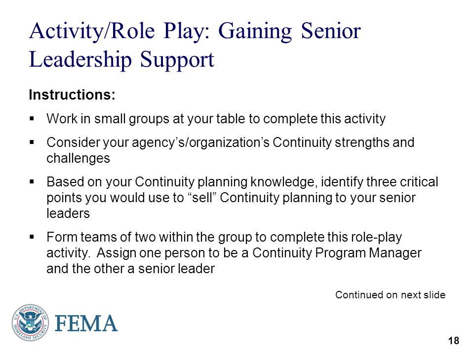 Activity/Role Play: Gaining Senior Leadership Support