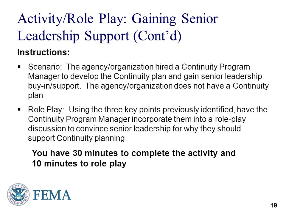 Activity/Role Play: Gaining Senior Leadership Support (Cont'd)