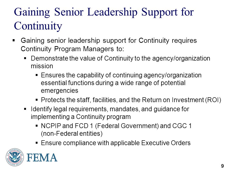 Gaining Senior Leadership Support for Continuity