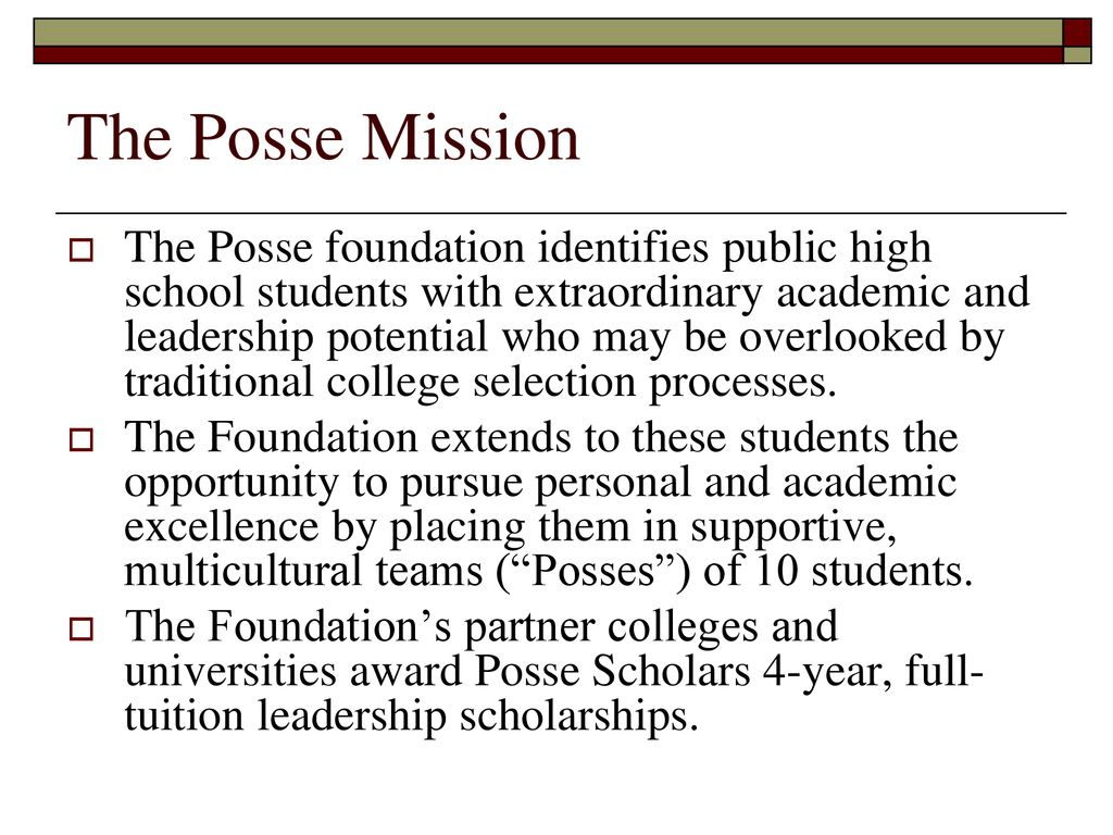 I never would have dropped out of college if I had my Posse
