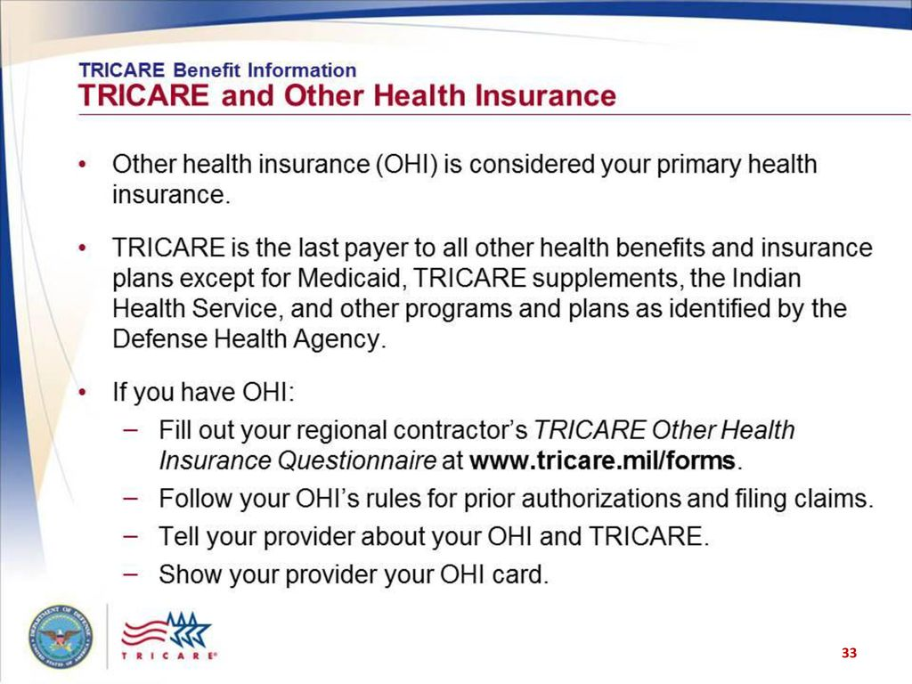 Tricare Your Military Health Plan Using Tricare And Medicare Ppt