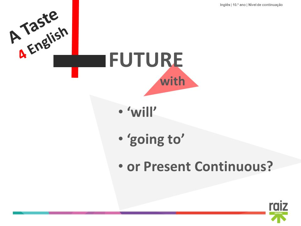 A Taste 4 English FUTURE with 'will' 'going to' or Present Continuous