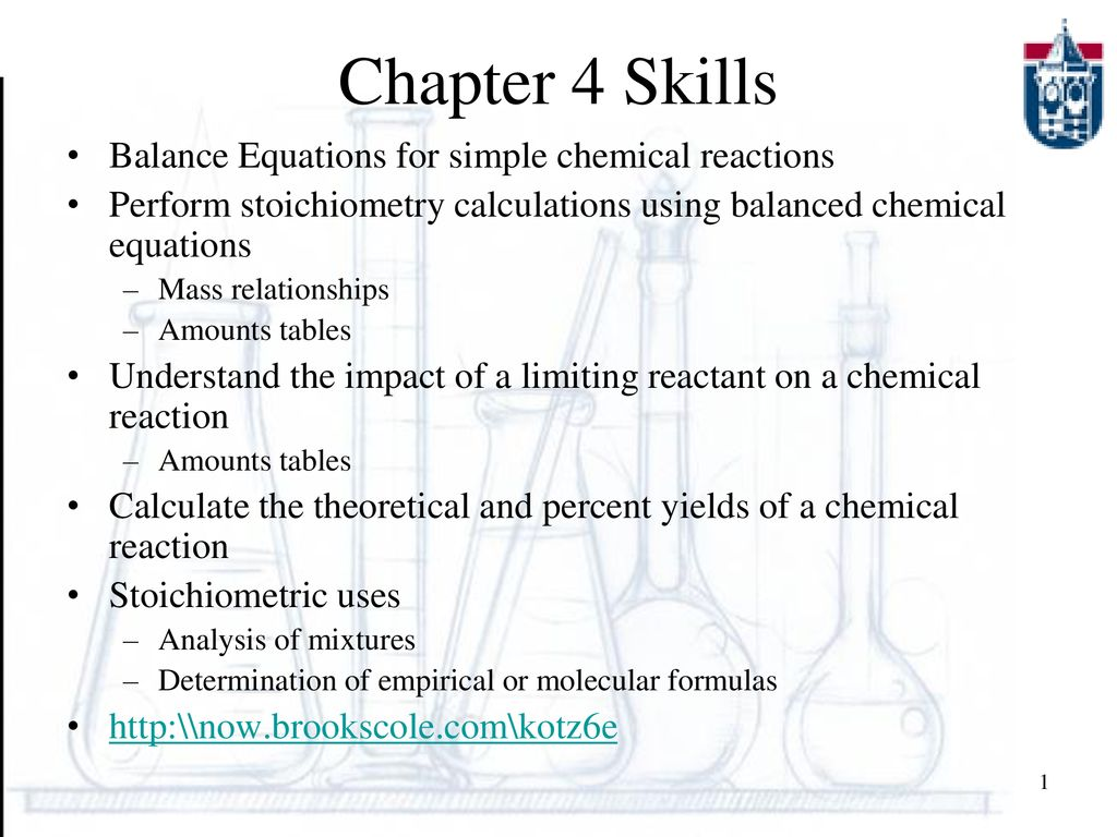 chapter 4 skills balance equations for simple chemical reactions