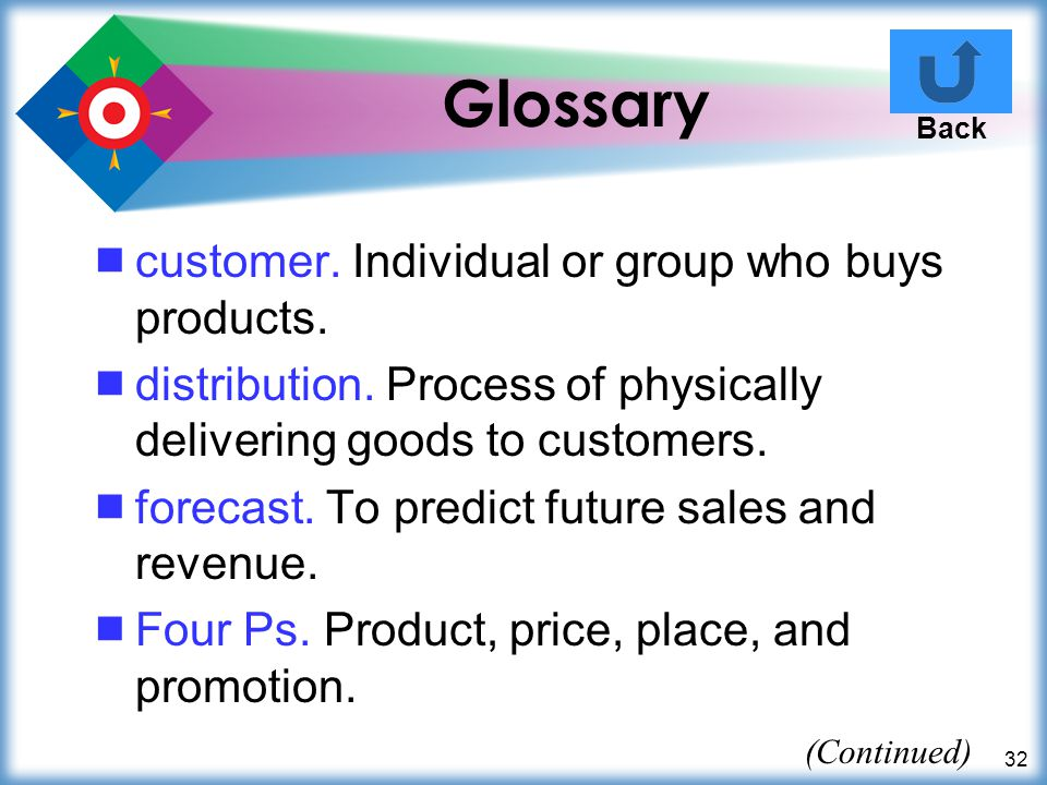 Glossary customer. Individual or group who buys products.