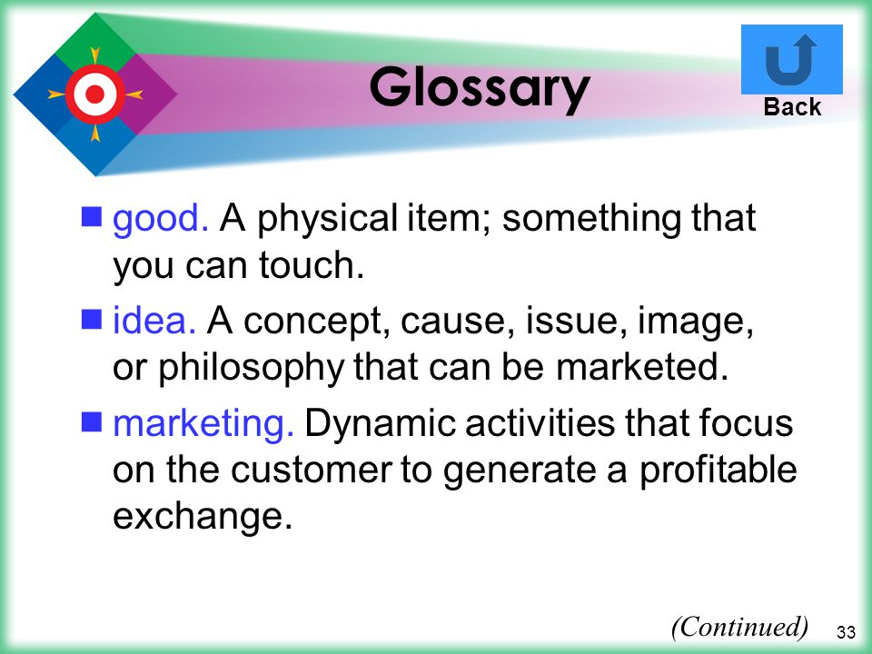 Glossary good. A physical item; something that you can touch.